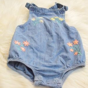 Criss Cross Strap Denim Romper
